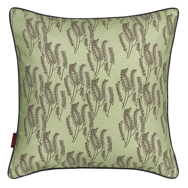 Maricopa Graphic Floral Pattern Cotton Linen Pillow - Eau de Nil Green