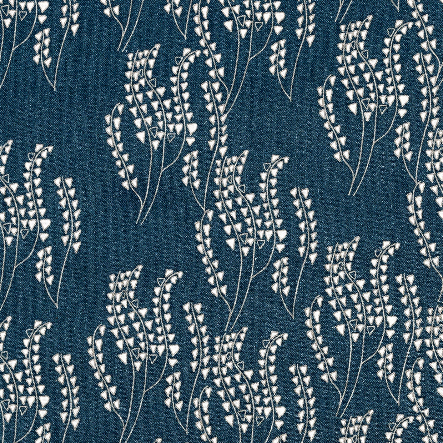 Maricopa Graphic Floral Pattern Cotton Linen & Canvas Fabric by the Yard in Dark Petrol Blue & Gray