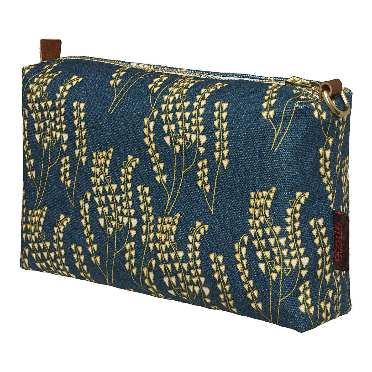 Maricopa Graphic Floral Pattern Canvas Toiletry Bag in Dark Petrol Blue - Maize Yellow