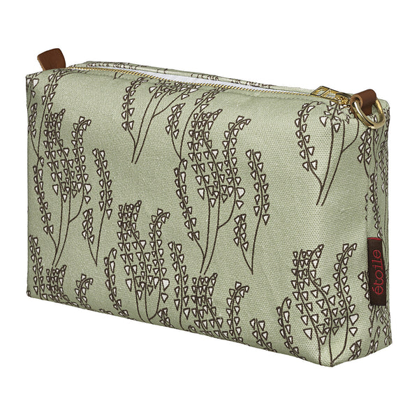 Maricopa Graphic Floral Pattern Canvas Toiletry Bag in Pale Eau de Nil Green