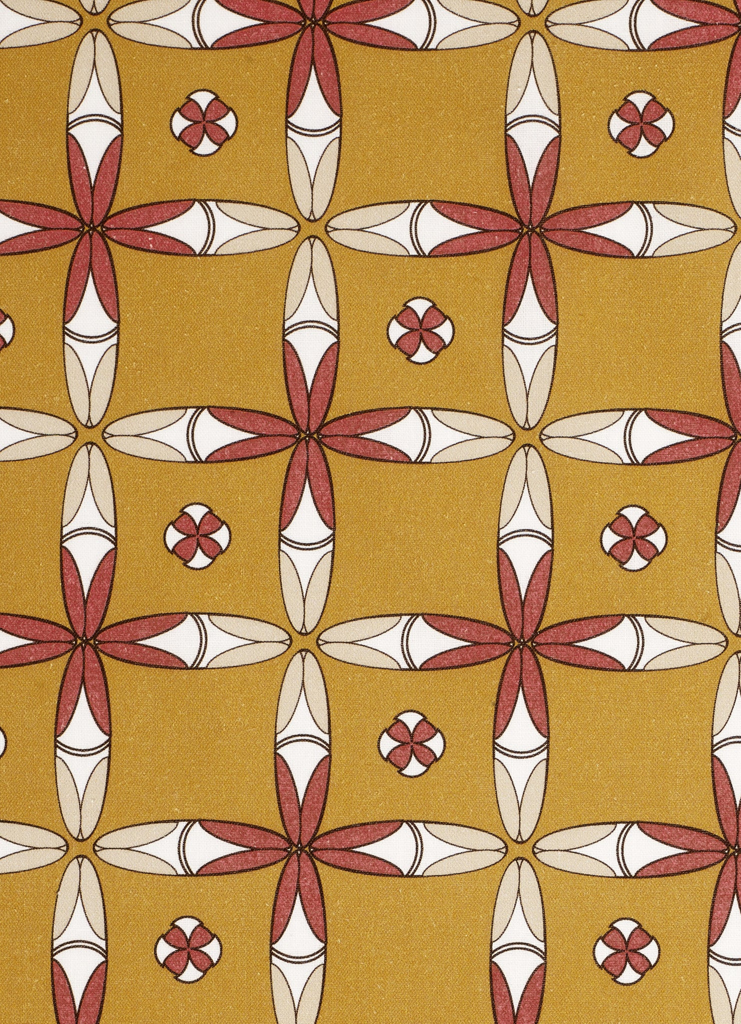 Navajo Graphic Pattern Cotton Linen & Canvas Fabric by the Yard in Mustard Gold