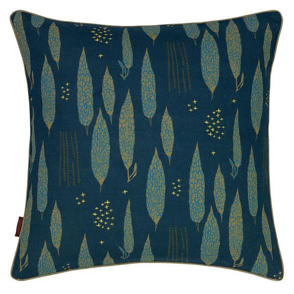 Graphic Tree Pattern Linen Union Printed Cushion in Dark Petrol Blue