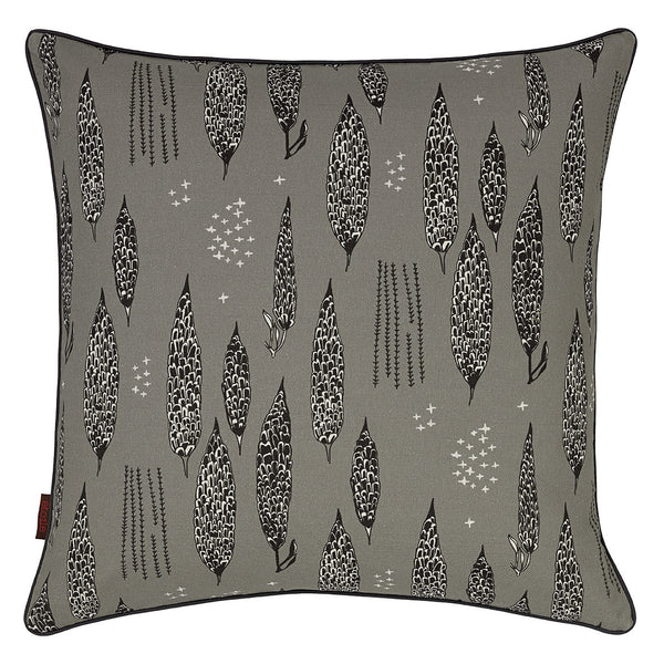 Graphic Tree Pattern Linen Union Printed Cushion in Dove Gray & Black 22x22""