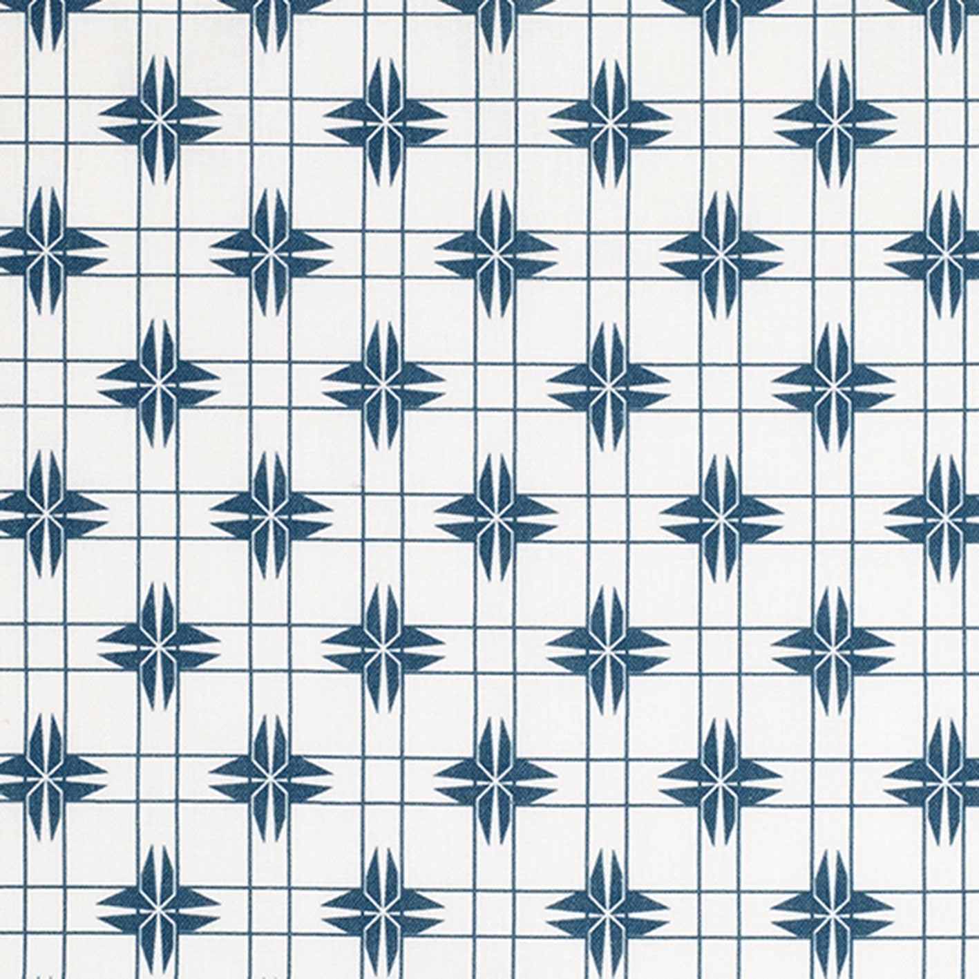 Pueblo Geometric Pattern Cotton Linen & Canvas Fabric by the Yard in Dark Petrol Blue