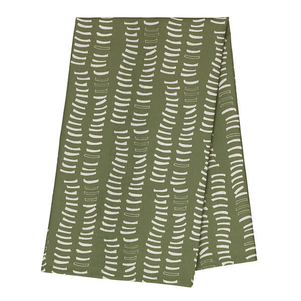 Graphic Ribs Pattern Printed Cotton Linen Dish Towel in Avocado Green
