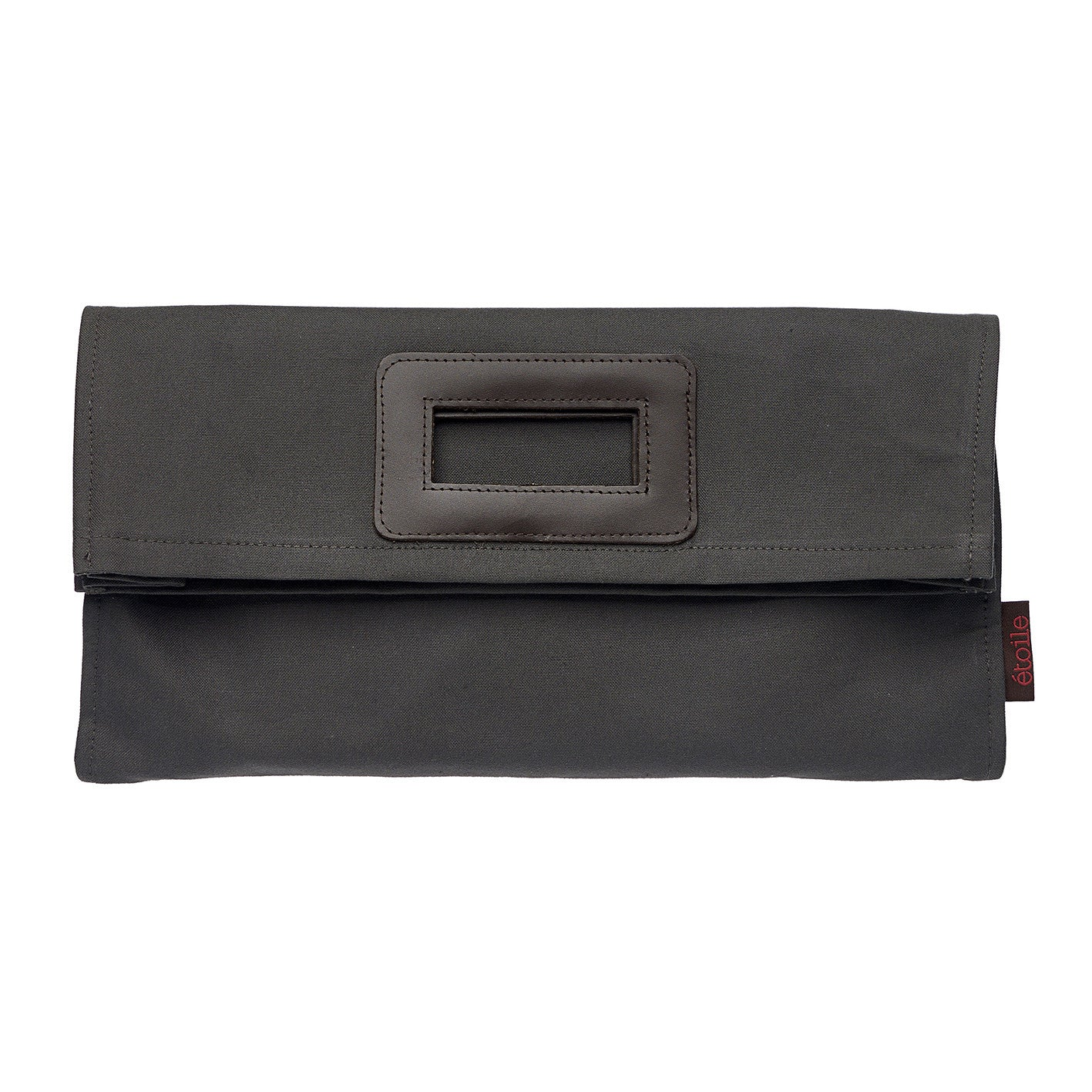 Stephanie Coated Cotton Canvas Clutch Bag in Dark Stone Gray