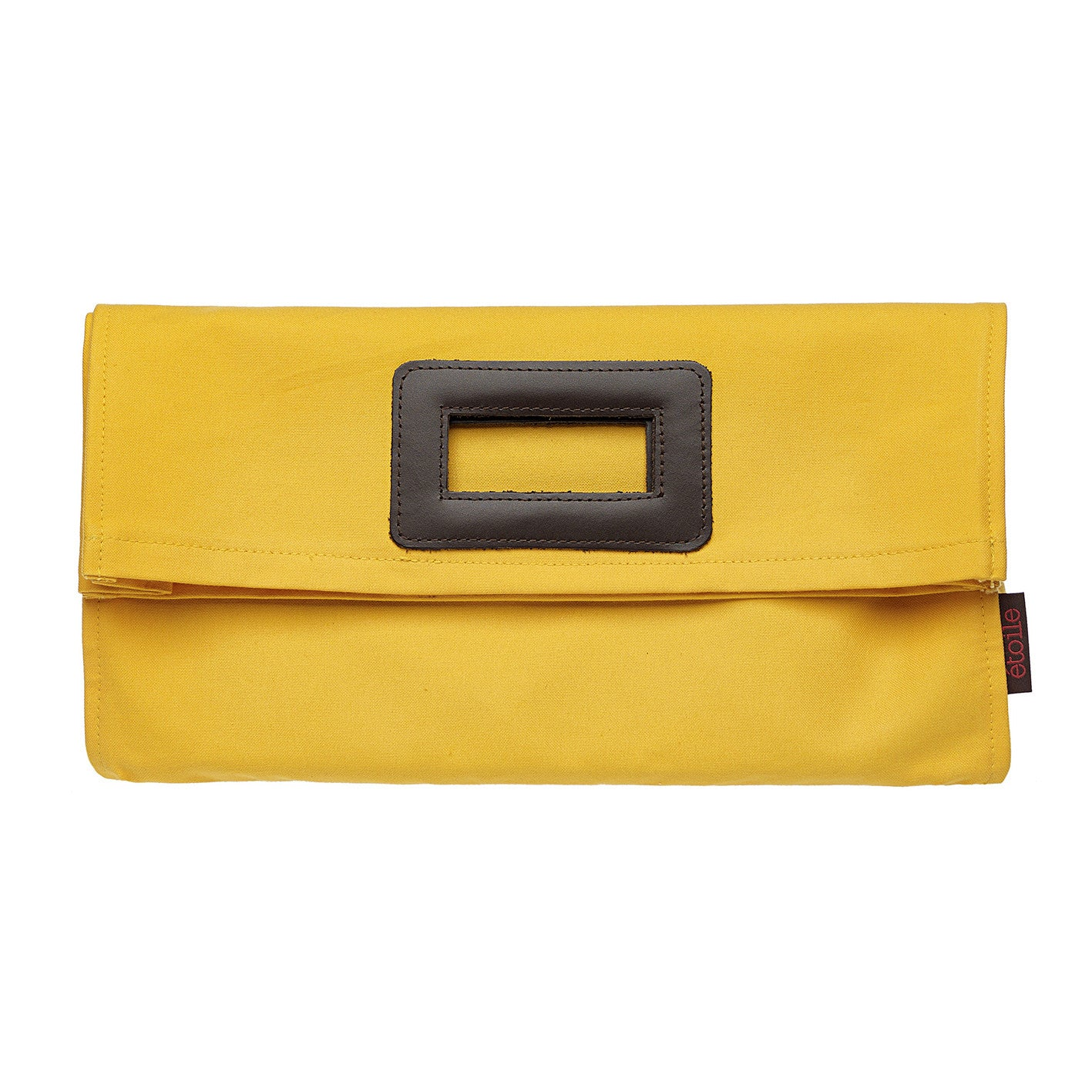 Stephanie Coated Cotton Canvas Clutch Bag in Bright Maize Yellow