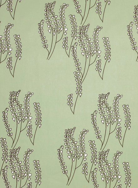 Yuma Graphic Floral Pattern Cotton Linen & Canvas Fabric by the Yard in Eau de Nil Green & Gray