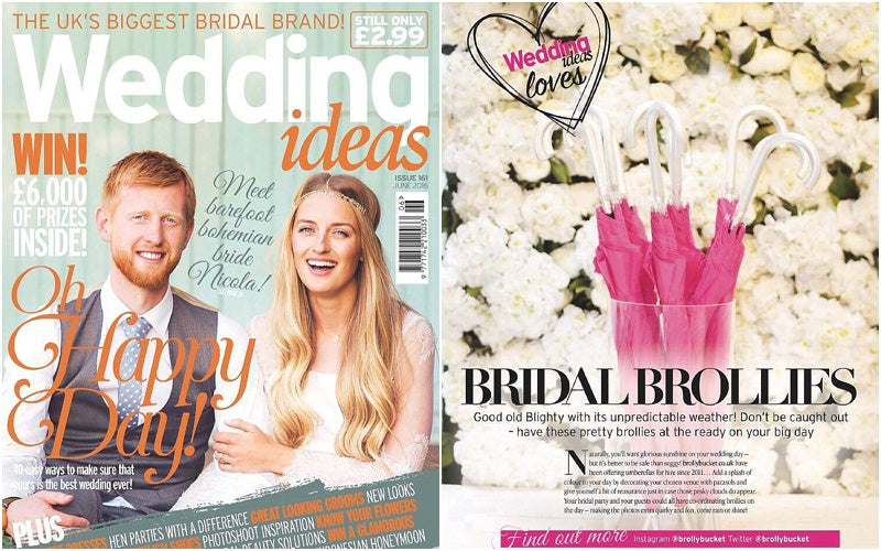 Wedding Ideas Magazine recommends BrollyBucket Umbrella Hire Service