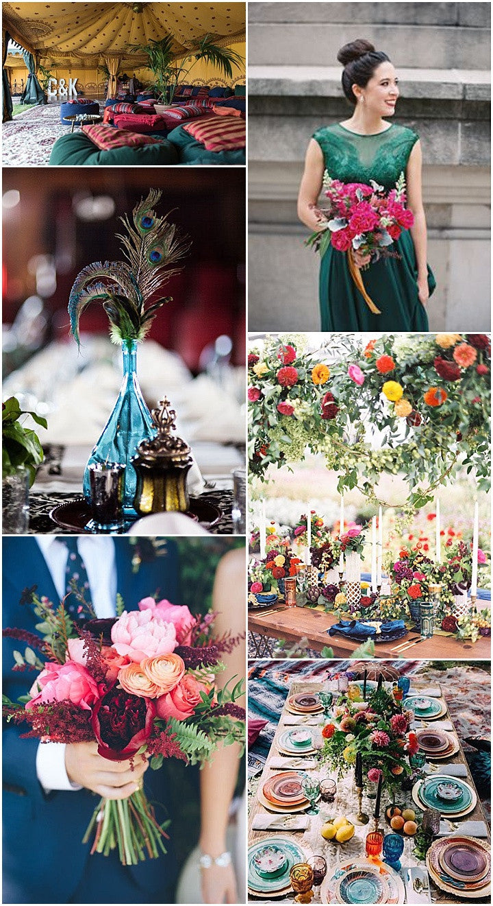 A Rich Jewel Toned Rehearsal Dinner with Asian Inspired Decor