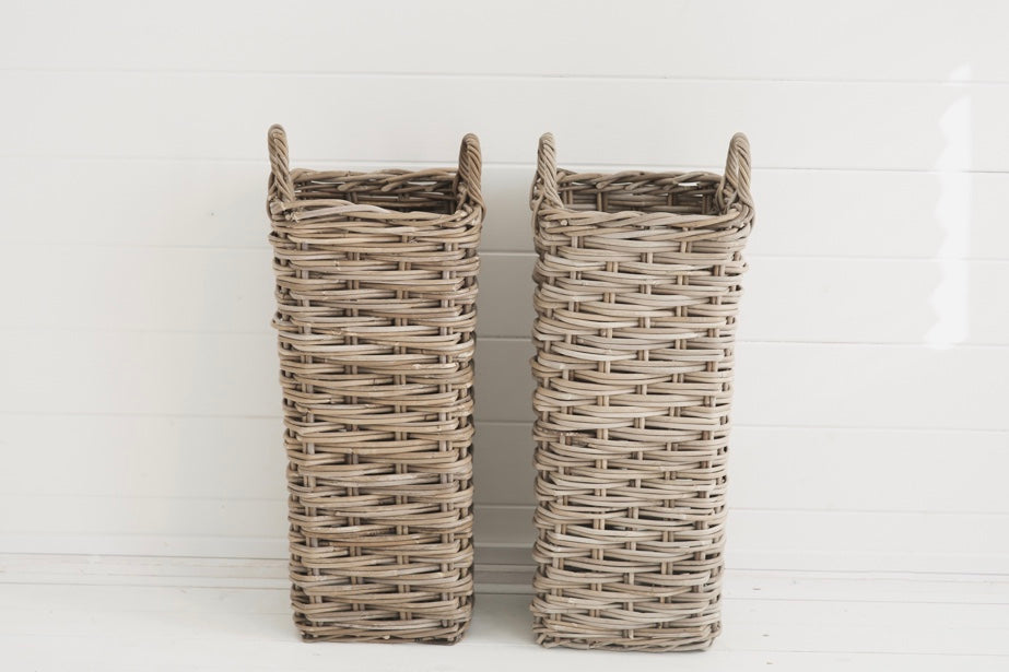 Umbrella Stand Willow Basket To Hire - Wedding Styling