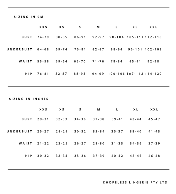 Hopeless Lingerie Sizing Chart
