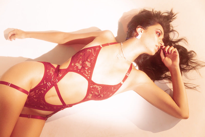 Red Lace and Mesh Lingerie | GOED | Hopeless Lingerie