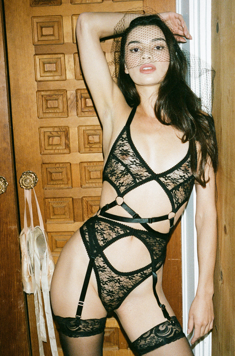 Black Lace Strappy Cutout Bodysuit | Ethical Lingerie by Hopeless
