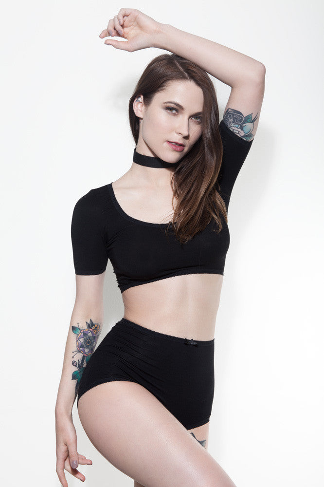 Black Crop Top & High Waisted Panties | Charlotte & Jeanne by Hopeless Lingerie