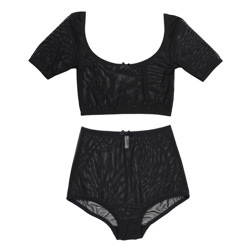 Black Crop Top & Mesh Underwear | Charlotte & Jeanne by Hopeless Lingerie