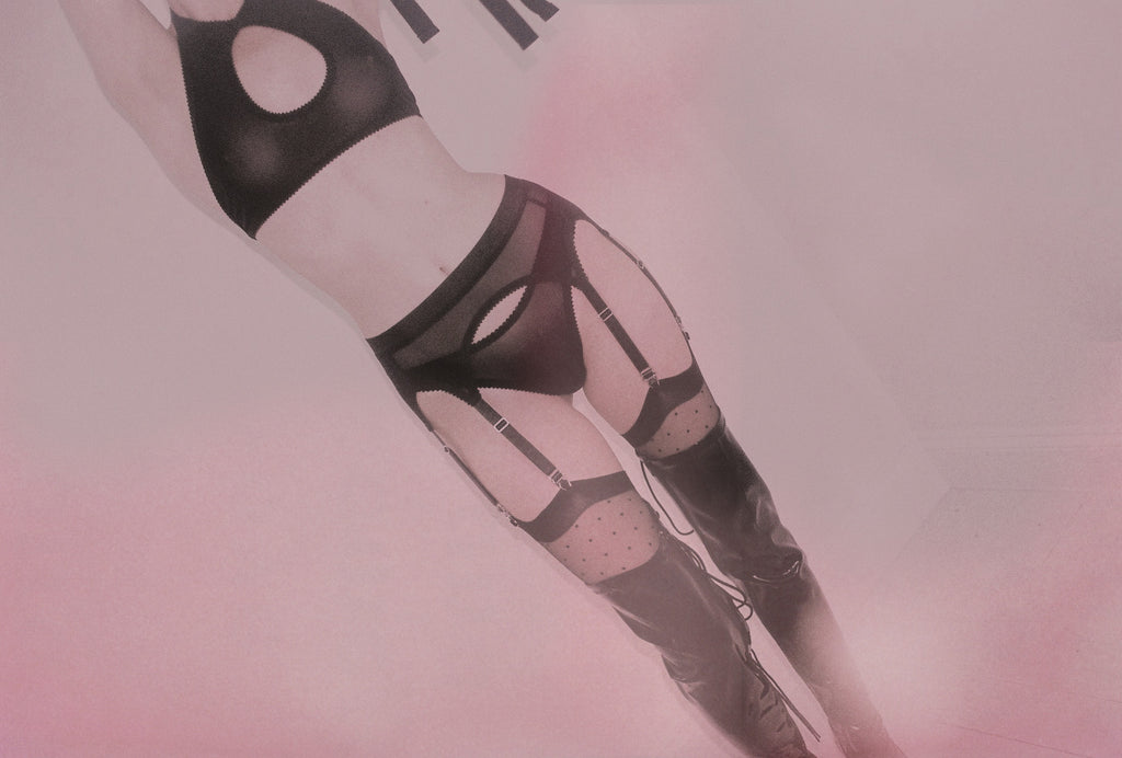 6 Strap Suspender in Soft Black Mesh | Heather by Hopeless Lingerie