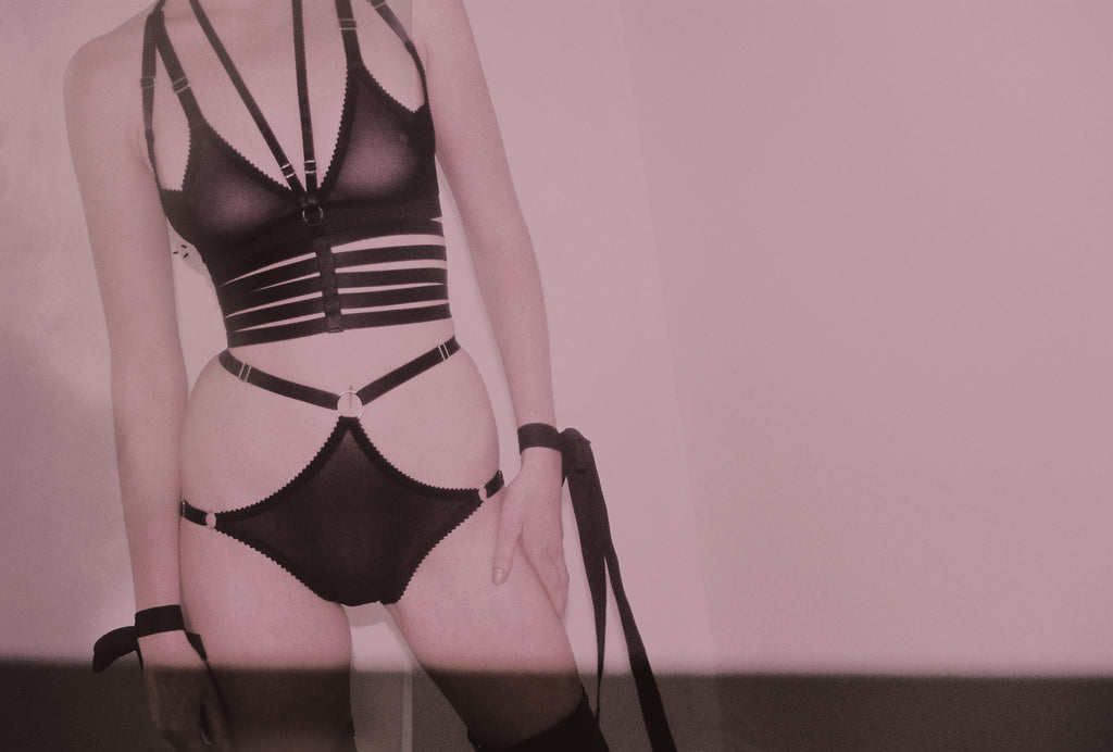 Black Strappy Mesh Lingerie | Lucy, Eva & Darla by Hopeless