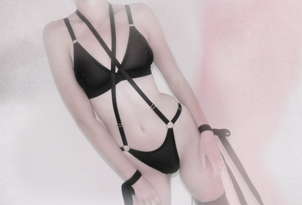 Black Mesh Harness Thong | Bondage Lingerie by Hopeless
