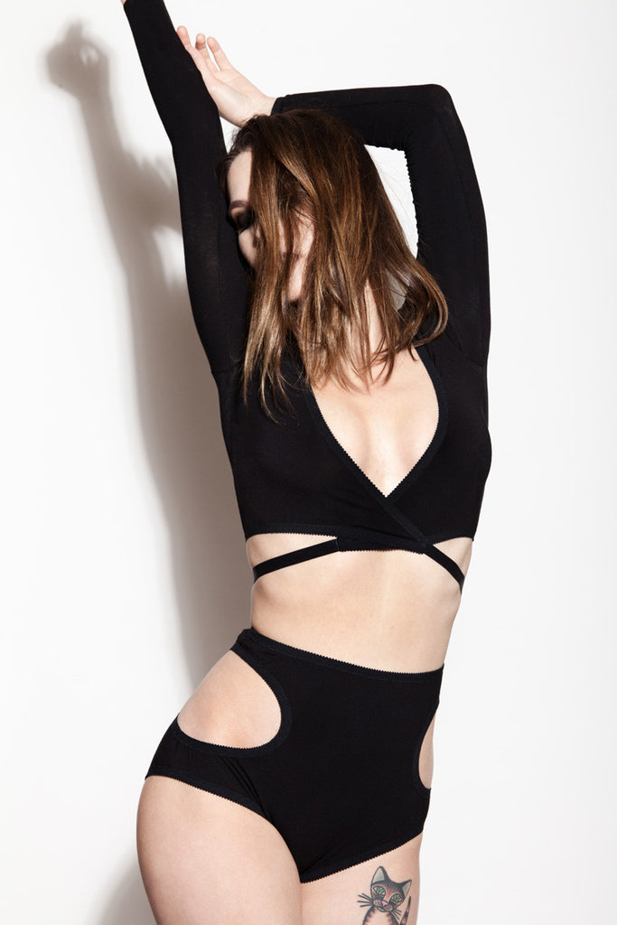 Black Wrap Top & Cut Out Panties | Christie & Phoebe by Hopeless Lingerie