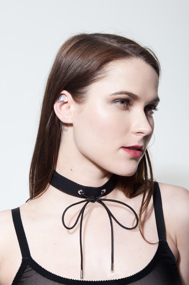 Black Choker Necklace with Bolo Tie | Jocelyn by Hopeless Lingerie