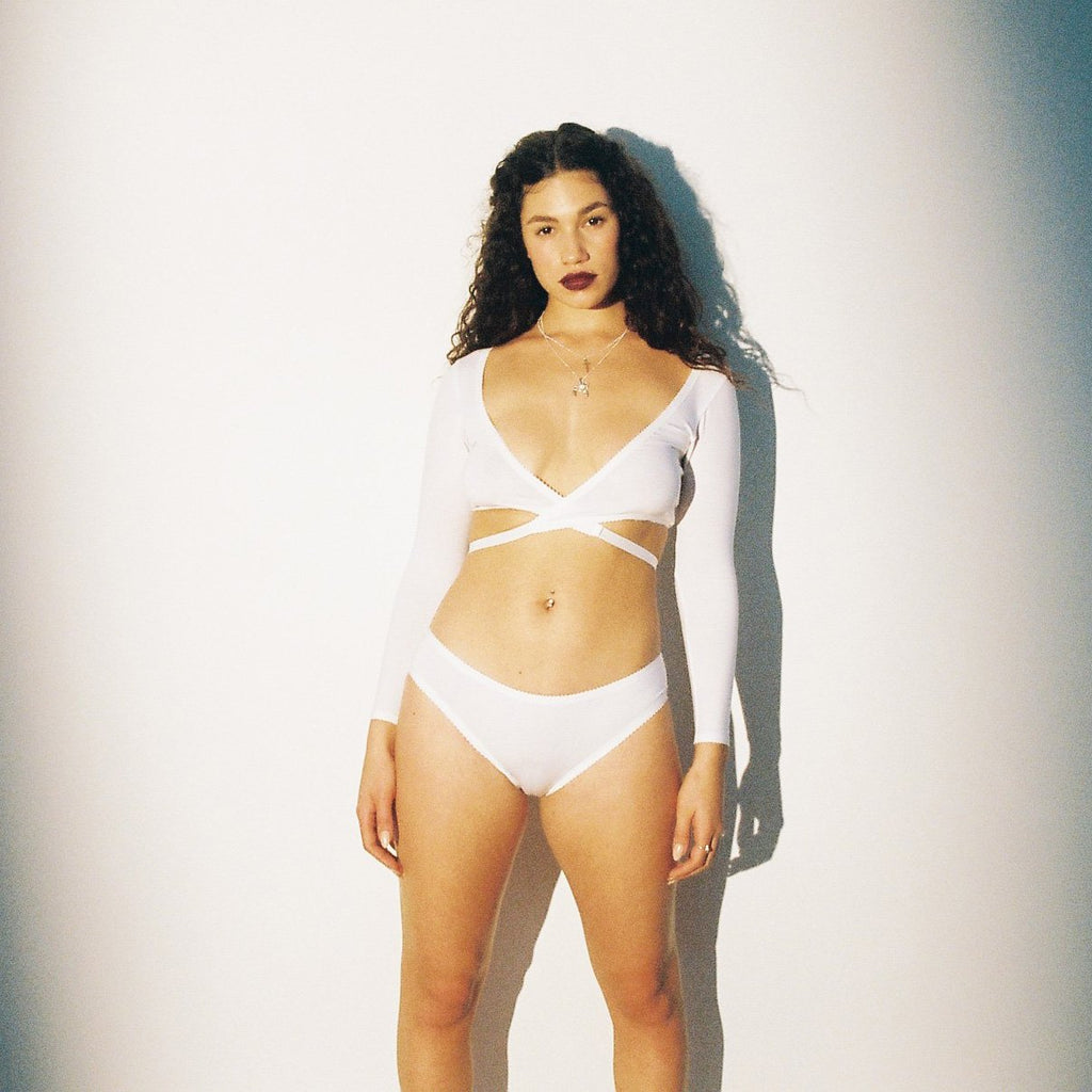 White Organic Cotton Hemp Modal Mesh Long Sleeve Top & Knickers | Hopeless Lingerie
