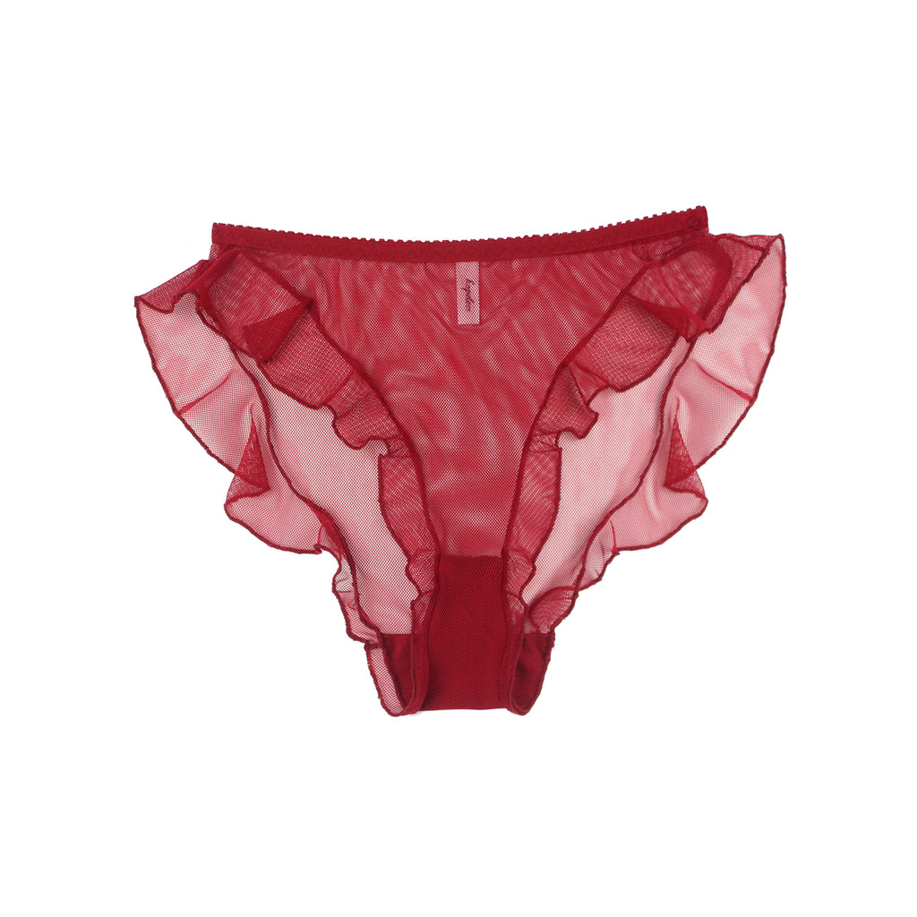 Red Mesh Frill Knickers | Hopeless Lingerie