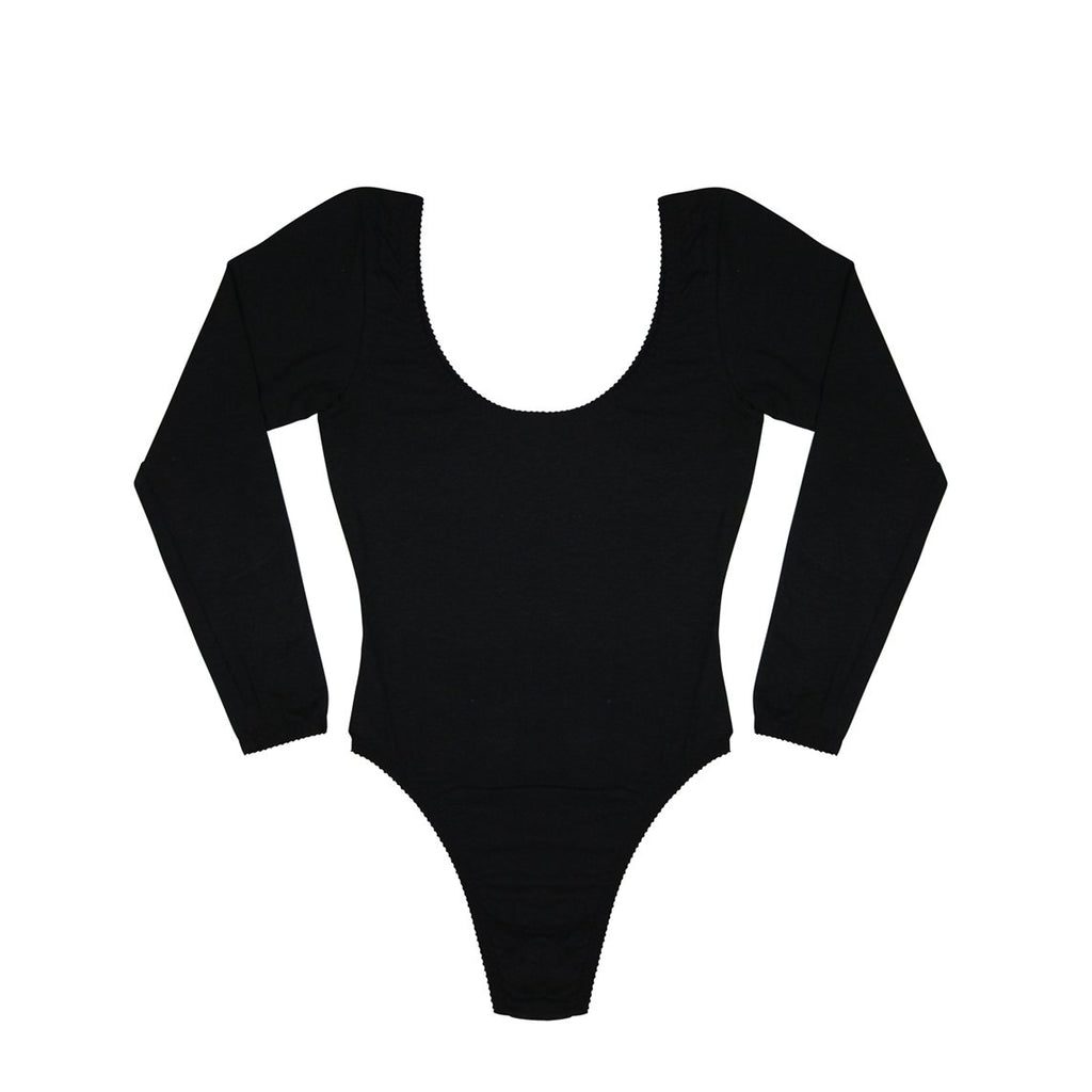 Black Organic Cotton Hemp Modal Mesh Thong Bodysuit | Hopeless Lingerie