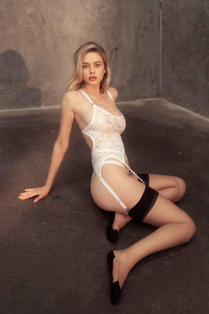 White Lace Garter Tank & White Lace Thong | Wanda Suspender Tank By Hopeless Lingerie