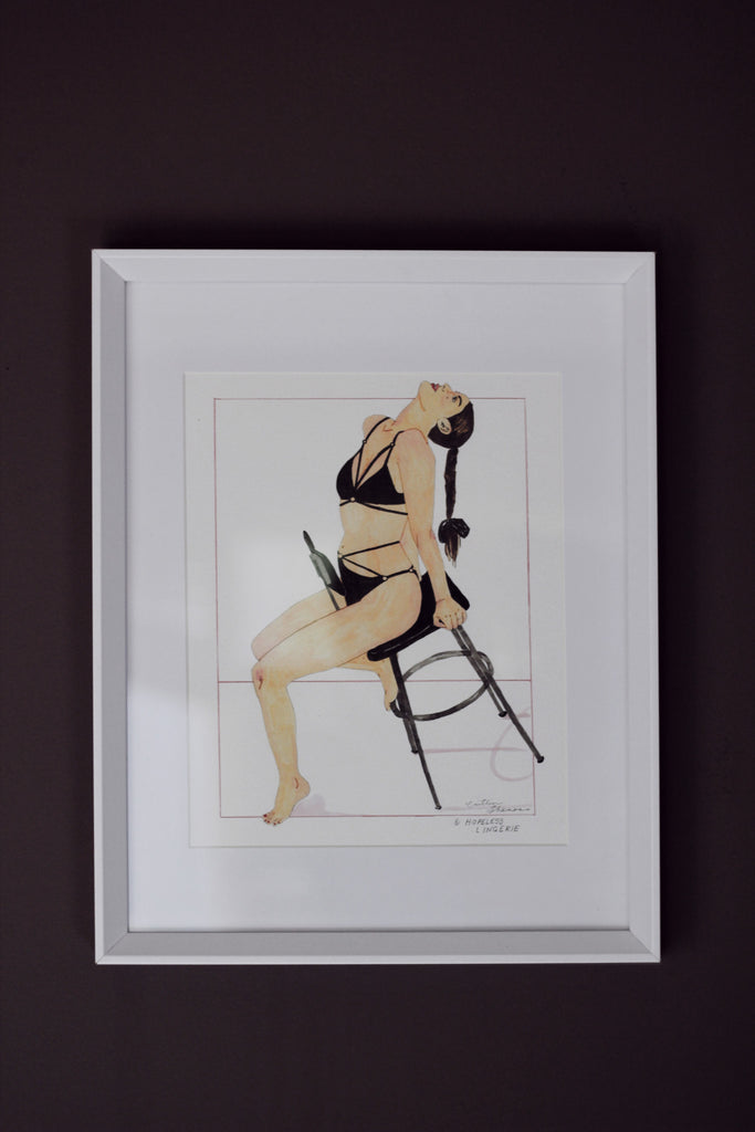 Giclee Art Print by Caitlin Shearer on wall for Hopeless Lingerie