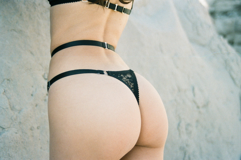 Black Lace Strappy Thong | Hopeless Lingerie
