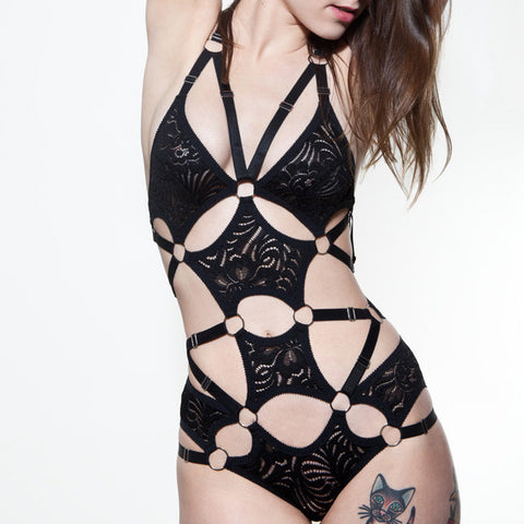 Black Lace Bodysuit with Cut Outs | Antoinette by Hopeless Lingerie
