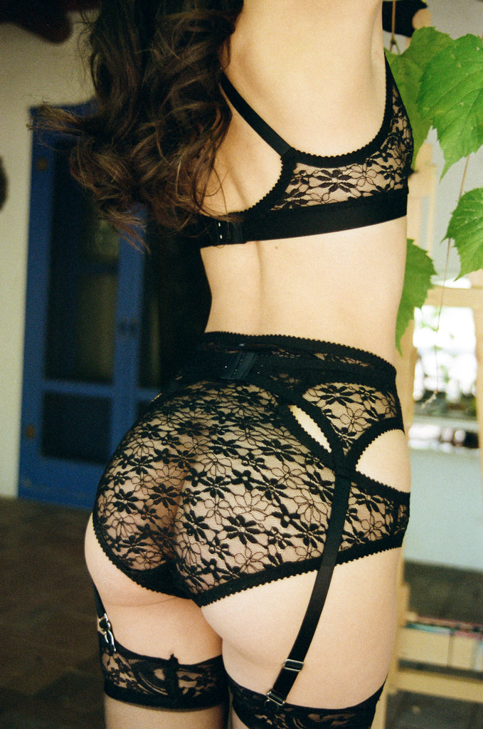 Black Lace Suspender & Knickers | Hopeless Lingerie
