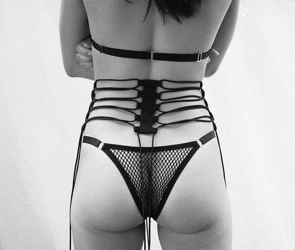 Fishnet Thong & Harness | Christine by Hopeless Lingerie