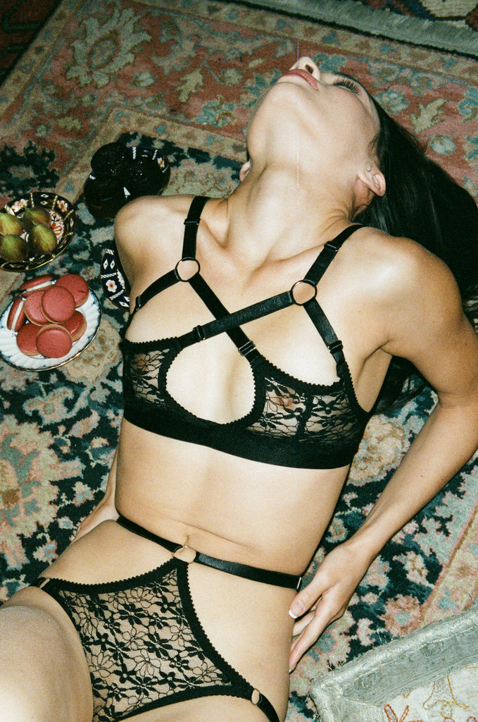 Black Lace Strappy Knickers | Hopeless Lingerie