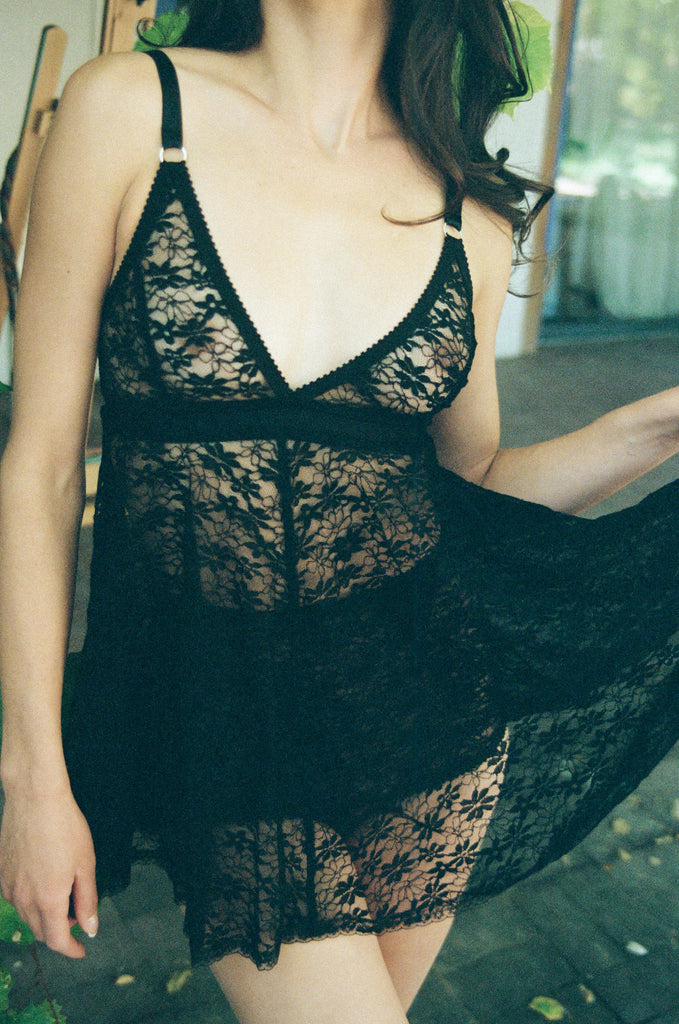 Black Lace Nightie | Hopeless Lingerie
