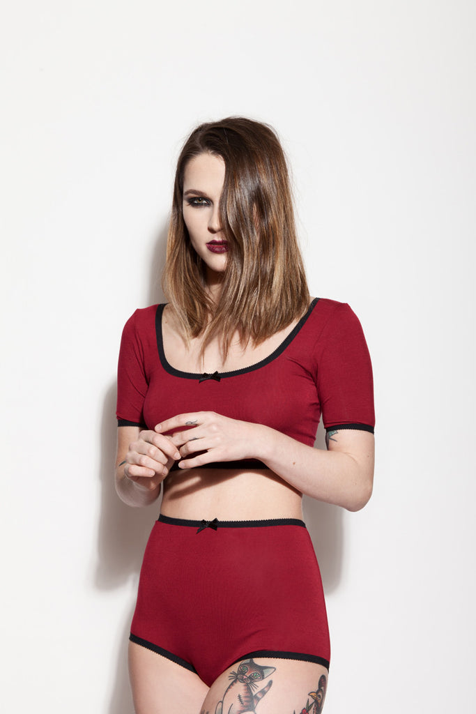 Red Crop Top & Underwear | Charlotte & Jeanne by Hopeless Lingerie