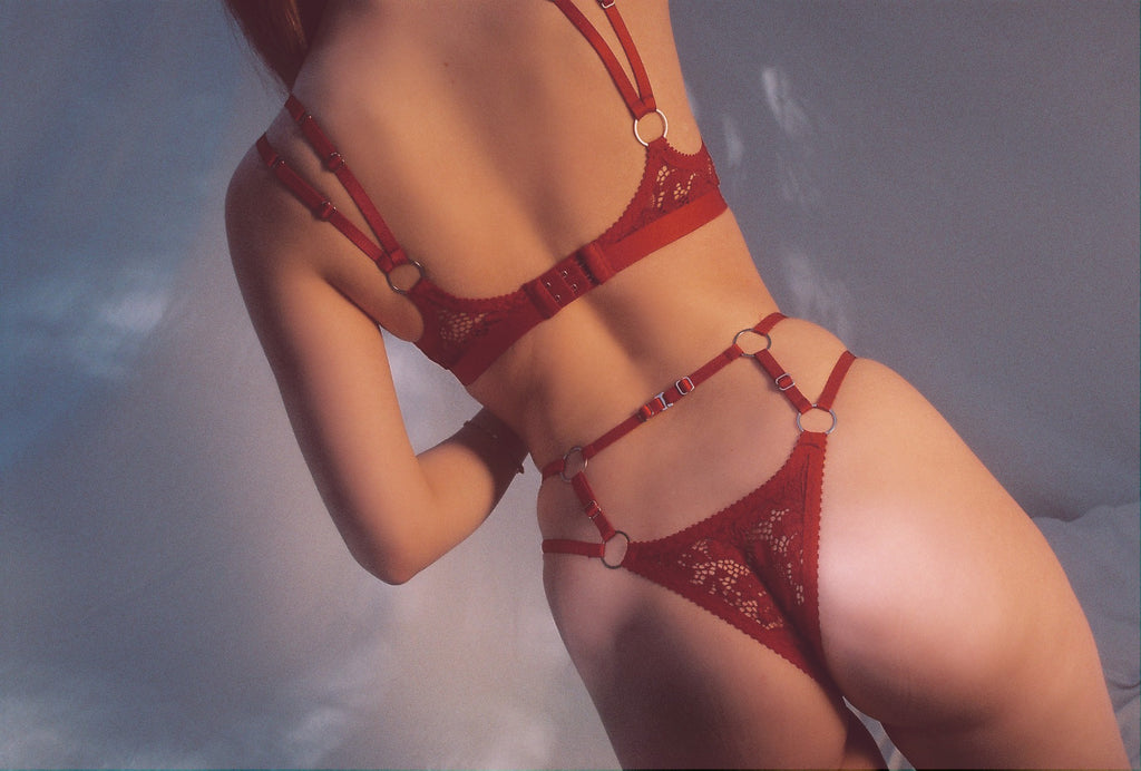 Red Lace Strappy Thong | Hopeless Lingerie