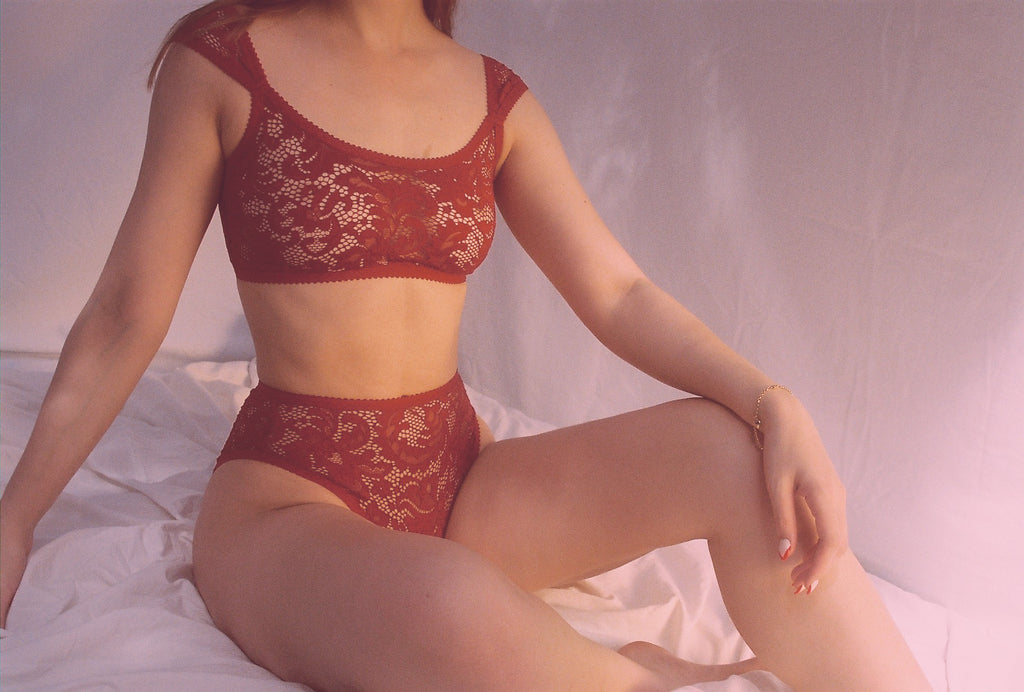 Red Lace High Rise Knickers | Deanna by Hopeless Lingerie