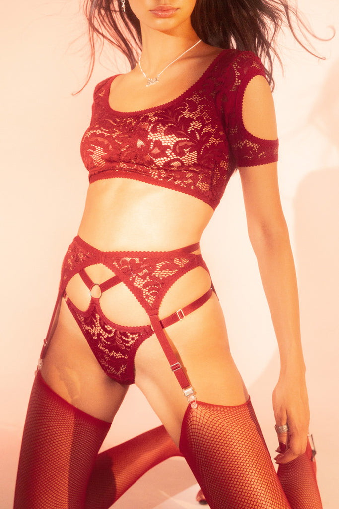 Red Lace Suspender | Hopeless Lingerie