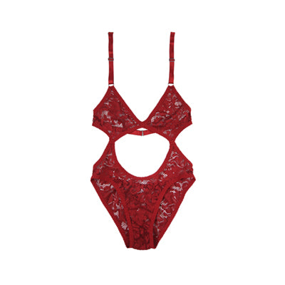 Red Lace Cutout High Rise Bodysuit | Hopeless Lingerie