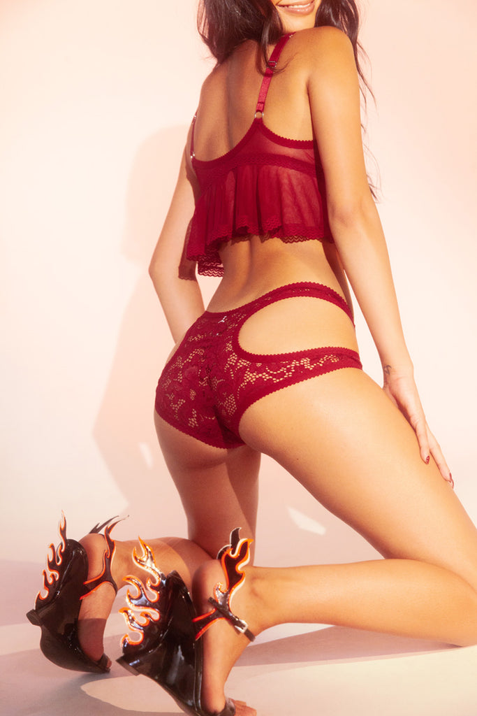 Red Lace Cutout Knickers | Hopeless Lingerie