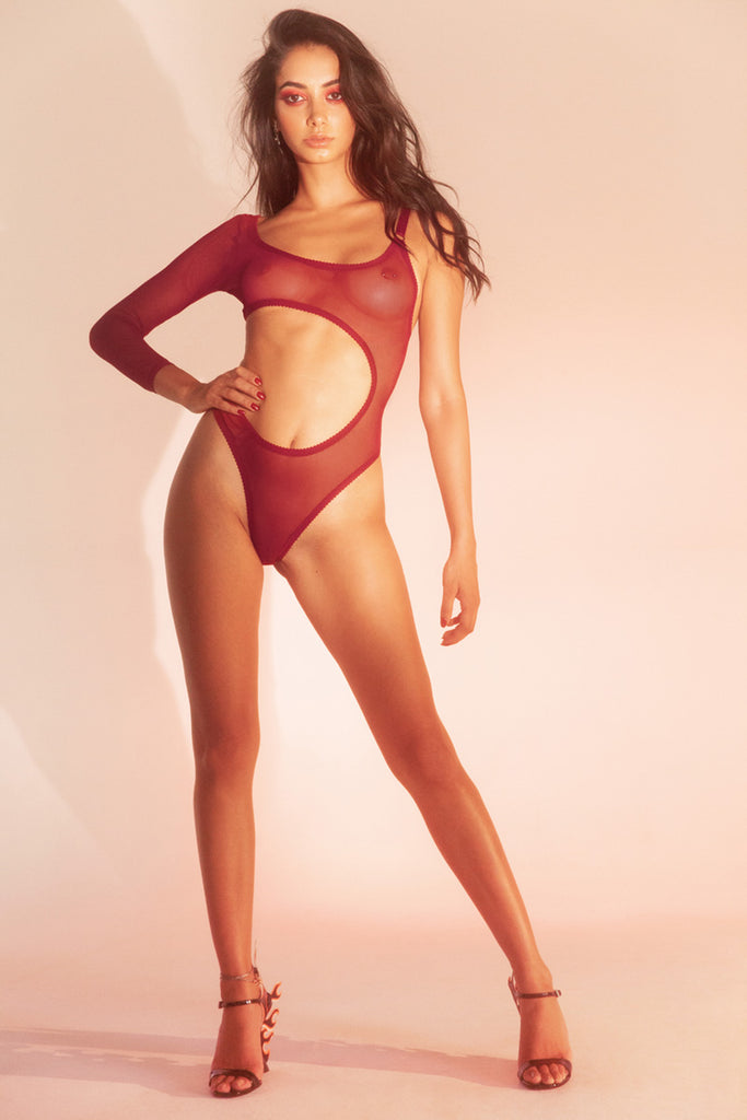 Red Mesh Asymmetrical High Rise Bodysuit | Hopeless Lingerie