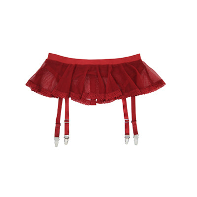 Red Mesh Frill Suspender Skirt | Hopeless Lingerie