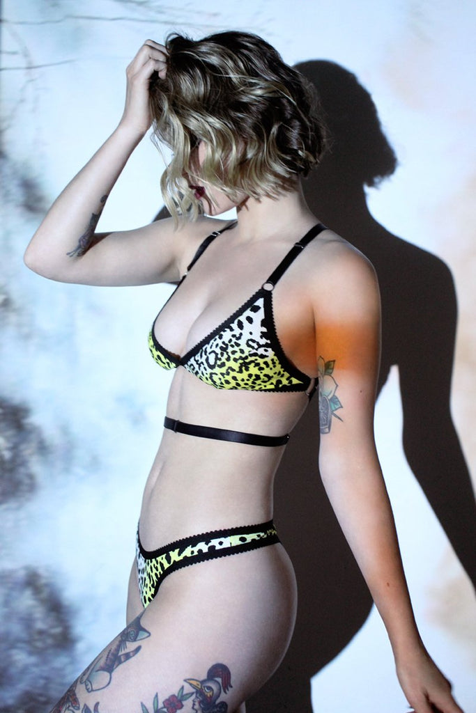 Yellow Leopard High Rise Thong | Hopeless Lingerie