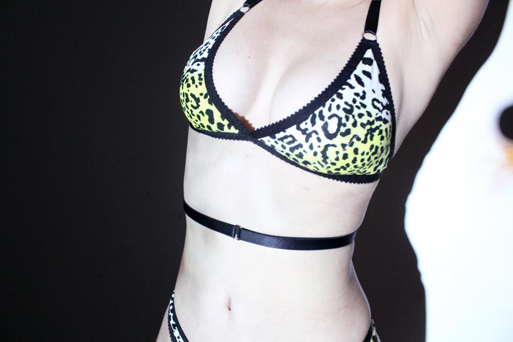 Yellow Leopard Strappy Bralette & Thong | Hopeless Lingerie
