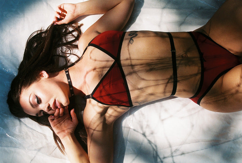 Red Bamboo Bralette & High Cut Underwear | Rosemary & Kelly by Hopeless Lingerie