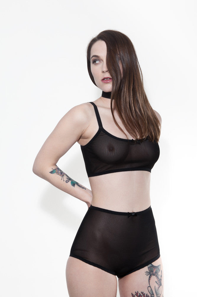 Black Mesh High Waisted Panties | Australian Made by Hopeless Lingerie