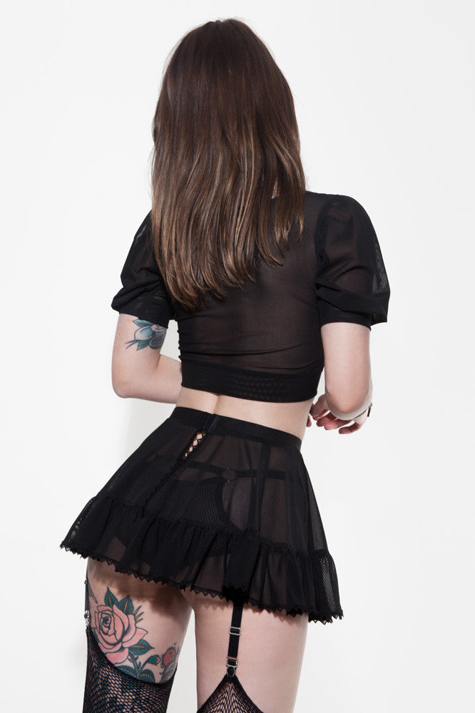 See Through Top and Suspender Skirt by Hopeless Lingerie Back View