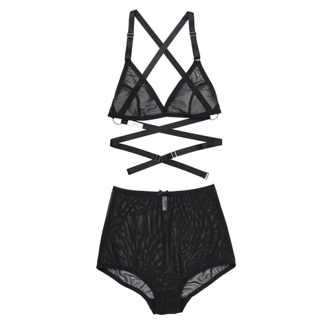 Mesh Strappy Bralette & High Waisted Underwear | Rosemary & Jeanne by Hopeless Lingerie